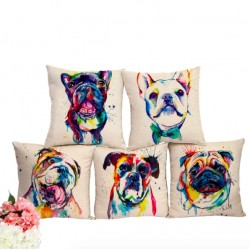 Printed French Bulldog Pillowcase Cushion Cover Case Cotton 44 * 44cm