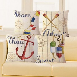 Vintage Marine Pillowcase Cushion Cover Cotton 45 * 45cm