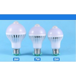 5w Led E27 Bulb 7w 9w Auto Smart Led PIR Infrared Body Lamp With The Motion Sensor Lights