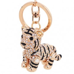 3D Crystal Animal Siberian Tiger Keychain Women Bag Accessories Creative Design Cartoon Tiger Pendan