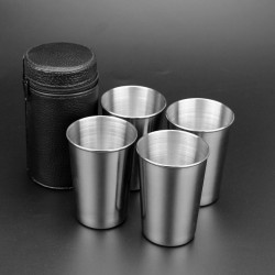 180ml Stainless Steel Camping Cups Mug With Bag 4pcs