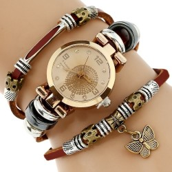 Genuine Leather Triple Bracelet Butterfly Charm Women's Watch