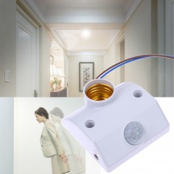 E27 220V Infrared Motion Sensor Automatic Energy Saving LED Light Lamp Holder Switch