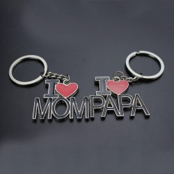 I Love Mom - I Love Dad Metal Keychain Keyring
