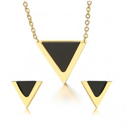 Triangle Earrings & Necklace Jewelry Set