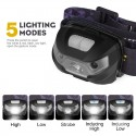 Outdoor Camping USB LED 3000LM Mini Rechargeable Flashlight Motion Sensor Head Light Lamp