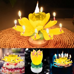 Lotus shaped rotating birthday candle with 8 small candles & Happy Birthday song