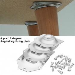 Placa de fijación de patas de mesa en ángulo - soporte de montaje para patas de muebles - juego de 4 piezas