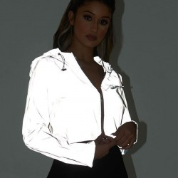Glow at night - reflective short jacket with hood & zipper