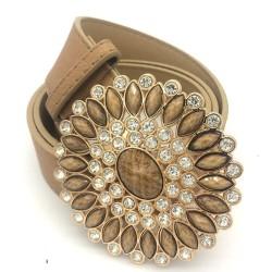 Cinturón de cuero vintage de lujo con hebilla redonda de cristal y perlas