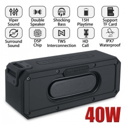 40W Bluetooth speaker - column - IPX7 waterproof subwoofer with 360 stereo sound