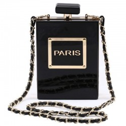 Perfume bottle shaped small shoulder bag with chain