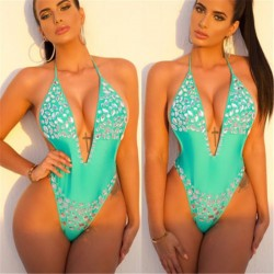 Womens Padded Up One Piece Push Up Monokini Diamond Swimwear crystal Swimsuit Sexy Backless Thong Be