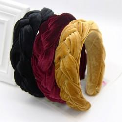 Elegancki pleciony aksamitny pałąk - opaska do włosów
