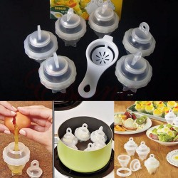 7pcsset Egg Tool with Separator Hard Boil Egg Cooker Clear Silicone Maker Without Shell Maker Egg S