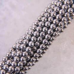 Magnetyczne hematytowe okrągłe luźne koraliki - sznurek do wyrobu biżuterii - 4mm - 39cm - srebrny