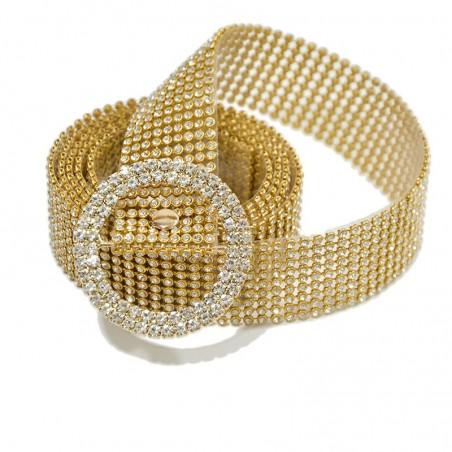 Thin shiny rhinestone belt - transparent crystal belts