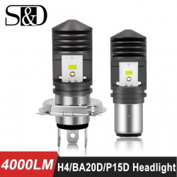 4000LM BA20D LED H6 P15D HS1 H4 Led Motorcycle Headlight Bulbs CSP Chips Motorbike hilo far light M