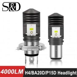 4000lm BA20D - P15D - Led - reflektor motocyklowy / samochodowy - żarówka