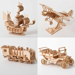 Laser Cutting Sailing Ship Biplane Steam Locomotive Toys 3D Wooden Puzzle Assembly Wood Kits Desk De