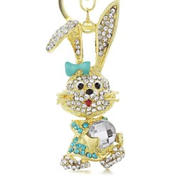 Lovely Bowknot Rabbit Crystal Bag Pendant Key chains Holder women Keyring Keychain For Car Fashion J