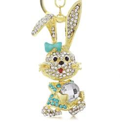 Złoto - kryształowy królik - brelok do kluczy