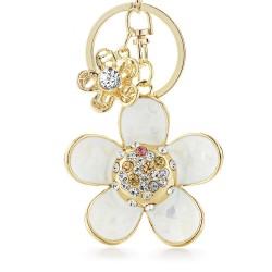 Stokrotka z perłą i kryształkami - brelok do kluczy