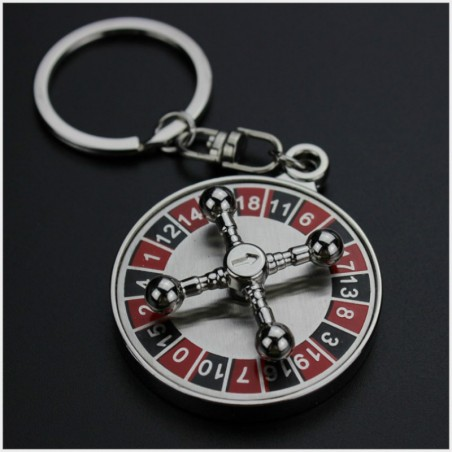 Spinning roulette wheel - keychain