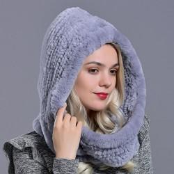 Kaptur wykonany z prawdziwego futra królika - modna ciepła czapka - szal