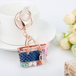 Kryształowa torebka - złoty brelok do kluczy