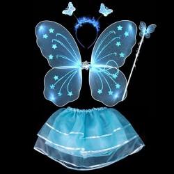 Kostium wróżki motyla - sukienka - skrzydła - i - opaska - komplet 4 sztuki