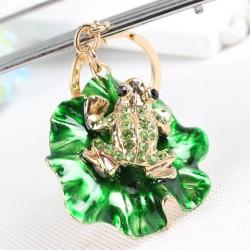Kikker op groen lotusblad - kristal versierde sleutelhanger