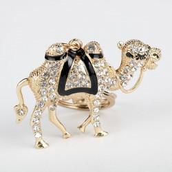 New Crystal Camel Keychain Animals Keyring Jewelry Woman Men Alloy Key Chains Bag Pendant Car Keyhol