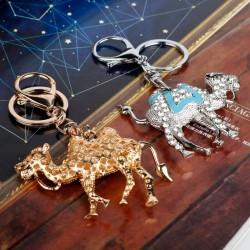Crystal & gold camel keychain
