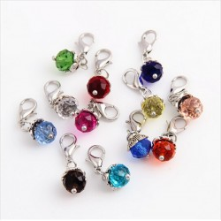 20Pcslot Crystal Birthday Stones Charms Birthstone Floating Locket Charms With Lobster Clasp For Gl