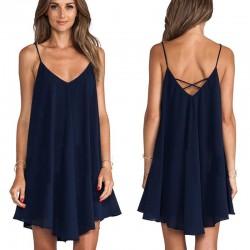 Nieregularna mini sukienka - bez rękawów