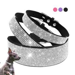 Lederhalsband mit Strasssteinen für Hunde und Katzen