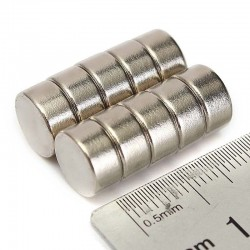 N52 Neodymium cylinder magnet 10mm * 5mm - 10 pieces