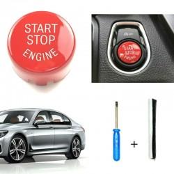 Start & stop engine - osłona włącznika przycisku do BMW Seria 1 F20 F21 2012-18 - czerwona