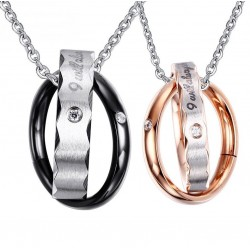 Vnox Endless Love Necklace Pendant For Lovers Vintage Double Hoop Wedding Promise Jewelry Free Chain