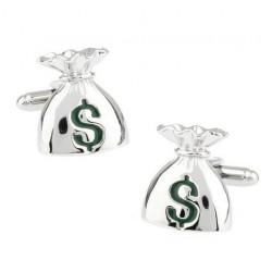 Silver money bag cufflinks