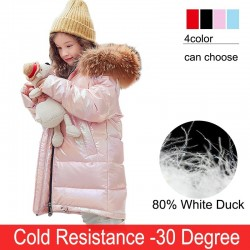 Fashionable - warm long jacket for kids with fur hood