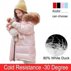 Fashionable - warm long jacket for kids with fur hood