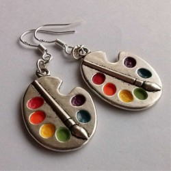 2020 New Palette Earrings Silver Earrings Artist Earrings Wonderful Silver Bright Artist Palette Ear
