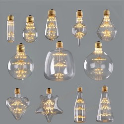ST64 G95 A60 Starry Sky Dimmable led Bulb 3W 2200K E27 220V Wine Bottle Decorative Christmas Firewor