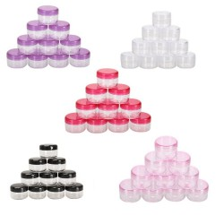 10pcs cosmetics jar box - makeup cream nail art cosmetic bead storage - pot container round bottle