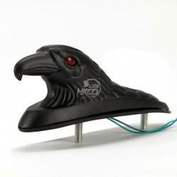 Zwarte adelaarskop voor spatbord - met rood verlichte ogen