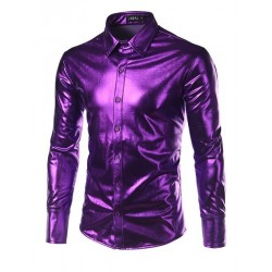 Purple Coated Metallic Night Club Wear Shirt Men Long Sleeve Halloween Button Down Mens Dress Shirt