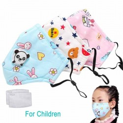 Máscara de cara / boca de carbón activado PM25 con válvula - para niños - incl. filtros extra