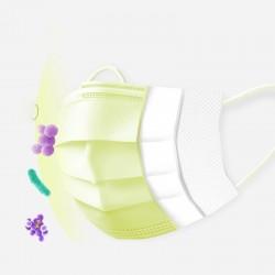 Jednorazowe maski na twarz / usta - 3 warstwy - przeciwpyłowa - przeciwbakteryjna - premium żółta